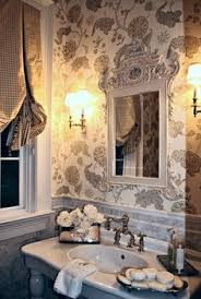Toile Bathroom Wallpaper by Gorgeous Powder Room With Beautiful Accessories Bath