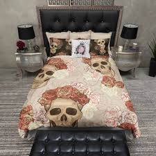reversible featherweight skull bedding sugar skull with flowers