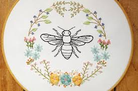 10 bee and honeycomb themed embroidery patterns