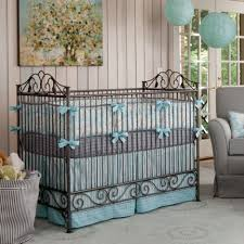 Blue And Brown Crib Bedding by Gray Baby Bedding Set For White Wooden Crib And White Leather