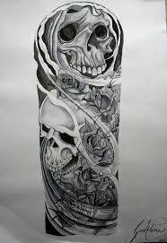 biomechanical skulls sleeve design ol stevie
