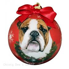 e s pets bulldog shatter proof ornament