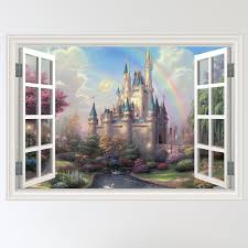 full colour fairy castle mystical window scene wall sticker decal full colour fairy castle mystical window scene wall sticker decal wall art girls room w70xh49cm amazon co uk kitchen home