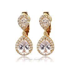 clip on bridal earrings gold clip on bridal earrings with teardrop cubic zirconia emona