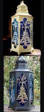 christmas candle lantern gold silver christmas trees on blue