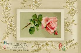 beautiful birthday greeting card with pink rose picture and