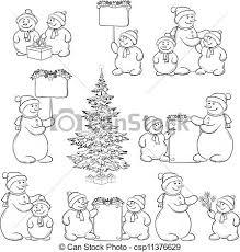 vector illustration snowman christmas tree outline