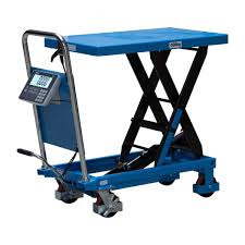 scissor lift table hydraulic mobile with built in scale