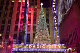 the christmas decorations in midtown manhattan nyc stock photo