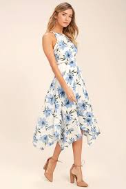 midi dress lovely blue and white dress floral print dress floral midi