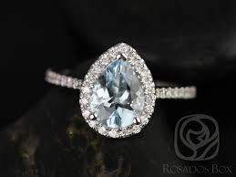 Teardrop Wedding Ring by Rosados Box Tabitha 9x7mm 14kt White Gold Pear Aquamarine And