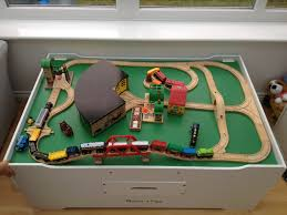 melissa and doug train table and set clickety clack the trains are on the track and heading over the