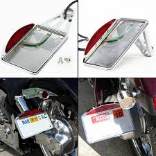 motorcycle license plate frame with led brake light license plate frame silver led tail brake light side mount for