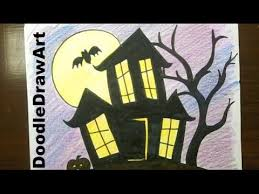 pictures of cartoon haunted houses drawing how to draw a haunted house step by step easy youtube