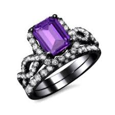 black and purple engagement rings luxury emerald cut purple cubic zirconia s black engagement