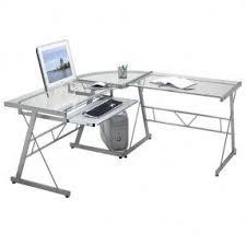 L Shaped Glass Desks L Shaped Glass Desk With Drawers Foter