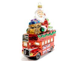 christmas glass ornament santa in london bus renio u0026 clark