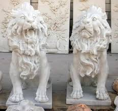 lions statues pair of carved white marble lion statues sitting small