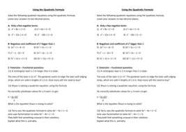 using the quadratic formula by sew205 teaching resources tes