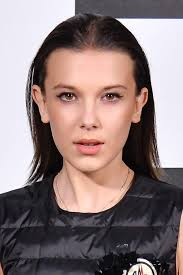hairstyle ipa millie bobby brown straight medium brown angled slicked back