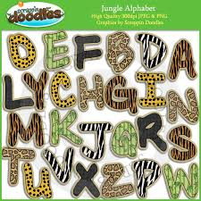 themed letters jungle alphabet clip