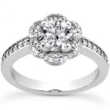 diamond shaped rings images Flower style prong set diamond engagement ring with round diamond jpg