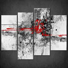 art for home decor decor abstract red lines split canvas wall art pictures prints