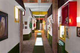 Hallway Color Ideas by Fun Hallway In Primary Colors With Swing And Brick Borders