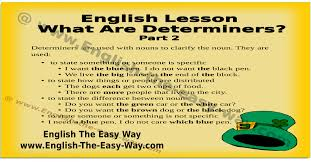 what are determiners english grammar english the easy way