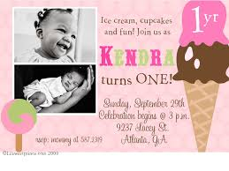 1 year old girls ice cream party invitation so cute party