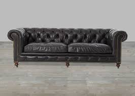 Cheap Leather Chesterfield Sofa Black Top Grain Leather Rolled Arm Chesterfield