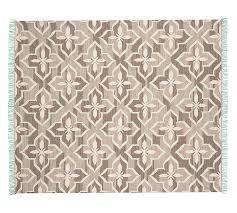 trina indoor outdoor rug brown turquoise pottery barn