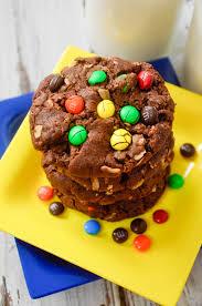 chocolate monster cookies pink cake plate