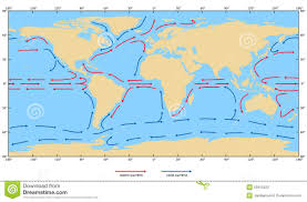 Ocean Currents Map Ocean Surface Currents Stock Illustration Image 55613322
