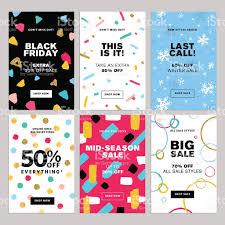 set winter mobile sale banners stock vector art 620976854 istock