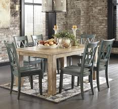7 piece table set with antique blue green side chairs by signature