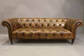 chesterfield sofa in tan leather antique style period sofa vintage