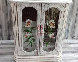 Armoire With Glass Doors Distress Jewelry Box Etsy