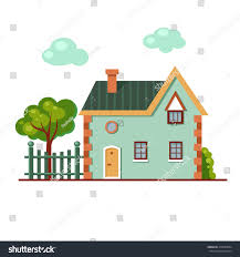 vector cartoon brick house fence tree stock vector 419599894