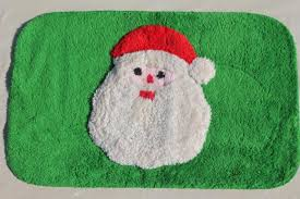 Santa Claus Rugs Vintage Green U0026 Red Rug W Santa Claus Soft Pile Bath Mat Or
