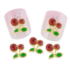 sweet 10pcs pack cherry alloy decoration nails rhinestones 3d