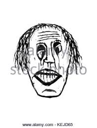 black and white sketch drawing illustration of sad clown face