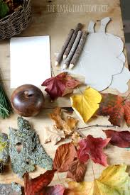leaf shaped writing paper autumn nature exploration table the imagination tree writing and drawing prompts on the nature table