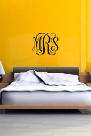 vine monogram wall decal personalized initials college dorm room