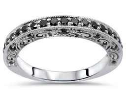 vintage art deco round black diamond wedding band ring 18k white