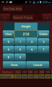 1 Rep Max Calculator Bench One Rep Max Calculator Android Apps On Google Play