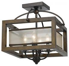 Flush Mounted Ceiling Lights by Wood Mission 4 Light Flush Mount Ceiling Fixture With Organza