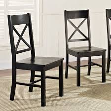 Solid Wood Dining Room Chairs Walker Edison Black 6 Piece Solid Wood Dining Set With Bench