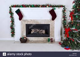 gas fireplace decorated with tree ornaments