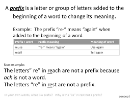 Letter Meaning In use prefixes to determine the meaning of words ppt